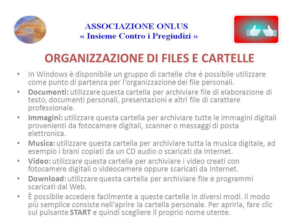 ORGANIZZAZIONE DI FILES E CARTELLE In Windows è disponibile un gruppo di cartelle che è possibile utilizzare come punto di partenza per l organizzazione dei file personali.