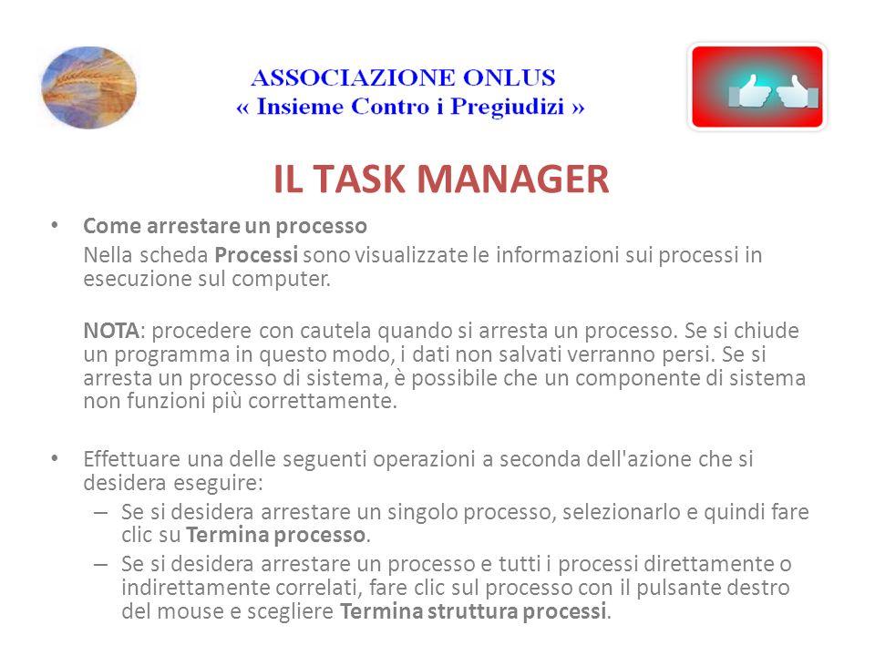 IL TASK MANAGER Come arrestare un processo Nella scheda Processi sono visualizzate le informazioni sui processi in esecuzione sul computer.