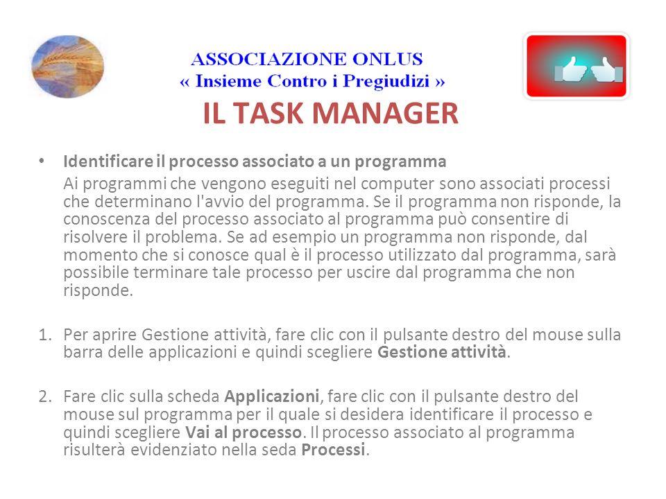 IL TASK MANAGER Identificare il processo associato a un programma Ai programmi che vengono eseguiti nel computer sono associati processi che determinano l avvio del programma.