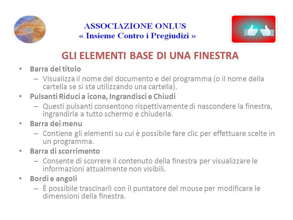 GLI ELEMENTI BASE DI UNA FINESTRA Barra del titolo – Visualizza il nome del documento e del programma (o il nome della cartella se si sta utilizzando una cartella).
