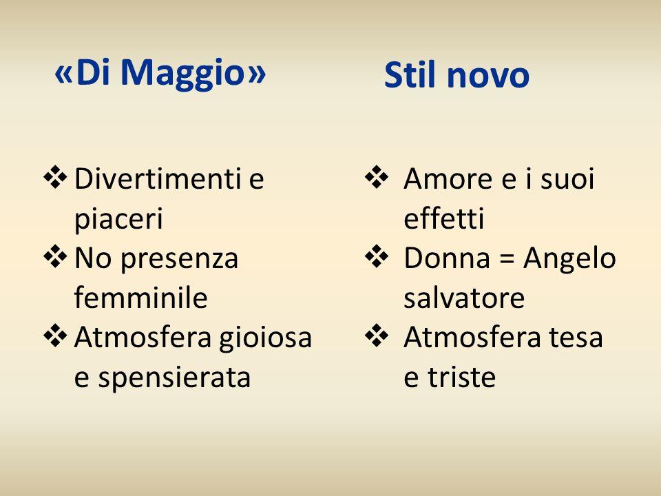 «Di Maggio» Divertimenti e piaceri No presenza femminile Atmosfera gioiosa e spensierata Stil novo Amore e i suoi effetti Donna = Angelo salvatore Atm