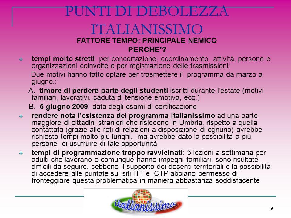 7 ITALIANISSIMO OGGI Utilizzo dei materiali di Italianissimo per un corso di livello A2 del framework europeo delle lingue, presso il comune di Montone che offre 30 ore di Lingua Italiana, 6 ore di Cittadinanza attiva e 4 ore di Sicurezza nei luoghi di lavoro con lobiettivo del conseguimento della certificazione CELI (Università degli Stranieri di Perugia) entro giugno 2011 come strumento di studio per corsi tenuti presso i CTP promotori del progetto con lobiettivo del conseguimento di Certificazioni di competenza delle lingua Italiana