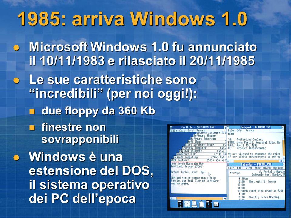 1985: arriva Windows 1.0 Microsoft Windows 1.0 fu annunciato il 10/11/1983 e rilasciato il 20/11/1985 Microsoft Windows 1.0 fu annunciato il 10/11/1983 e rilasciato il 20/11/1985 Le sue caratteristiche sono incredibili (per noi oggi!): Le sue caratteristiche sono incredibili (per noi oggi!): due floppy da 360 Kb due floppy da 360 Kb finestre non sovrapponibili finestre non sovrapponibili Windows è una estensione del DOS, il sistema operativo dei PC dellepoca Windows è una estensione del DOS, il sistema operativo dei PC dellepoca