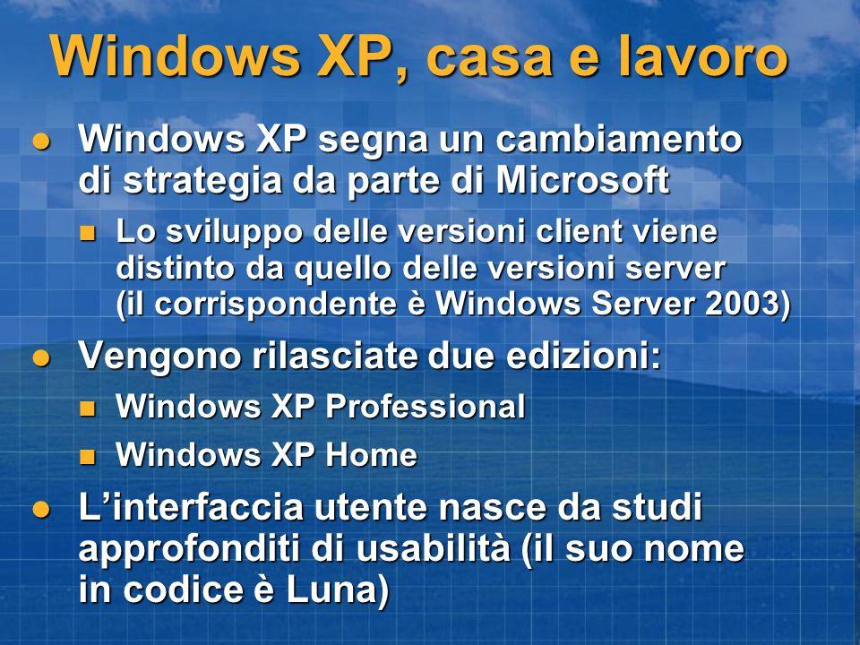 Windows XP, casa e lavoro Windows XP segna un cambiamento di strategia da parte di Microsoft Windows XP segna un cambiamento di strategia da parte di Microsoft Lo sviluppo delle versioni client viene distinto da quello delle versioni server (il corrispondente è Windows Server 2003) Lo sviluppo delle versioni client viene distinto da quello delle versioni server (il corrispondente è Windows Server 2003) Vengono rilasciate due edizioni: Vengono rilasciate due edizioni: Windows XP Professional Windows XP Professional Windows XP Home Windows XP Home Linterfaccia utente nasce da studi approfonditi di usabilità (il suo nome in codice è Luna) Linterfaccia utente nasce da studi approfonditi di usabilità (il suo nome in codice è Luna)