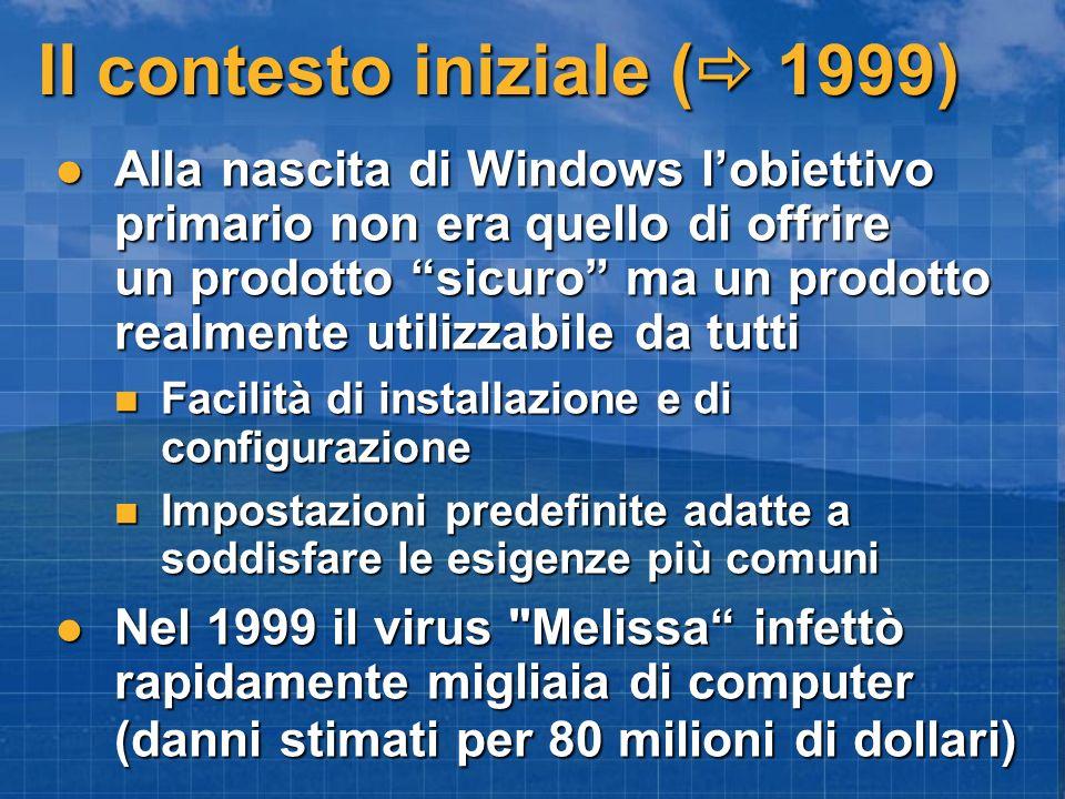 Il contesto iniziale ( 1999) Alla nascita di Windows lobiettivo primario non era quello di offrire un prodotto sicuro ma un prodotto realmente utilizzabile da tutti Alla nascita di Windows lobiettivo primario non era quello di offrire un prodotto sicuro ma un prodotto realmente utilizzabile da tutti Facilità di installazione e di configurazione Facilità di installazione e di configurazione Impostazioni predefinite adatte a soddisfare le esigenze più comuni Impostazioni predefinite adatte a soddisfare le esigenze più comuni Nel 1999 il virus Melissa infettò rapidamente migliaia di computer (danni stimati per 80 milioni di dollari) Nel 1999 il virus Melissa infettò rapidamente migliaia di computer (danni stimati per 80 milioni di dollari)