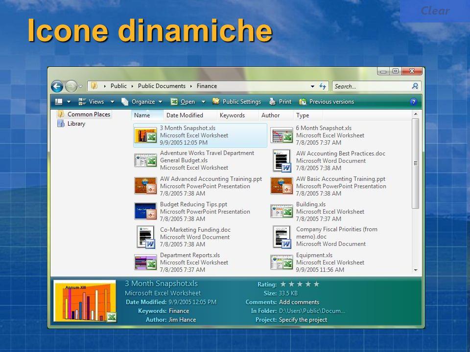 Clear Icone dinamiche