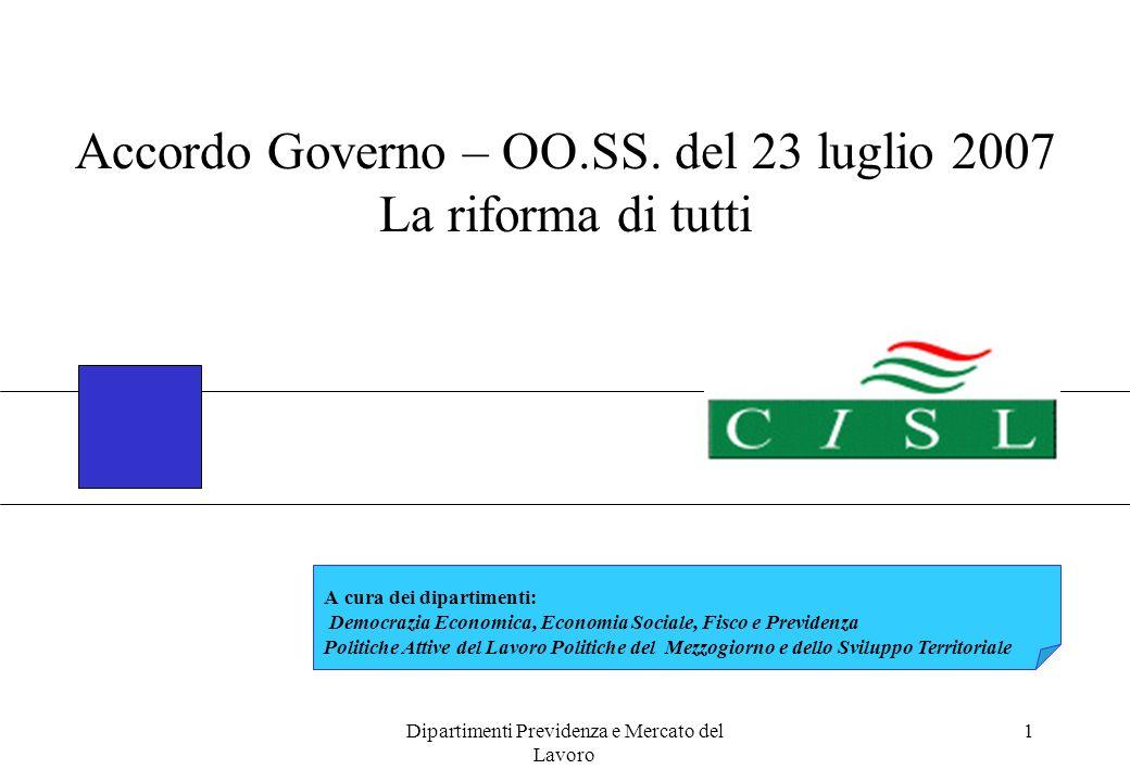Dipartimenti Previdenza e Mercato del Lavoro 1 Accordo Governo – OO.SS. del 23 luglio 2007 La riforma di tutti A cura dei dipartimenti: Democrazia Eco