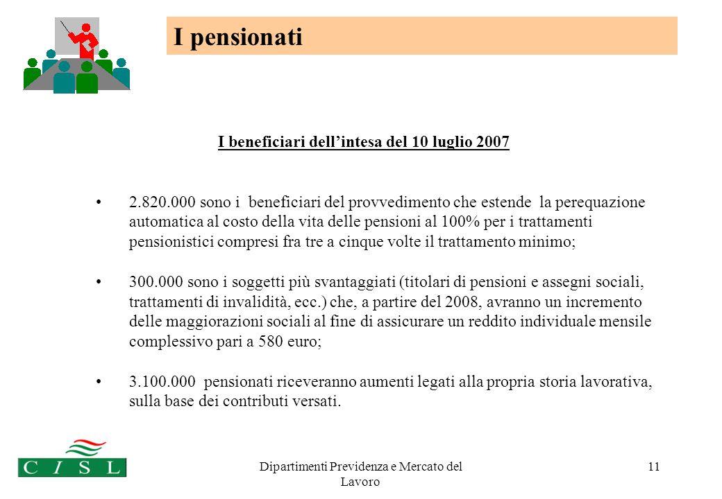 Dipartimenti Previdenza e Mercato del Lavoro 11 I beneficiari dellintesa del 10 luglio 2007 2.820.000 sono i beneficiari del provvedimento che estende