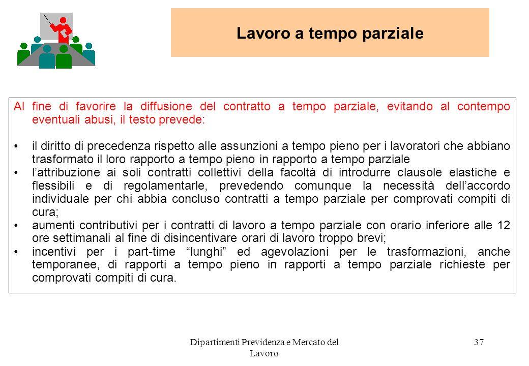 Dipartimenti Previdenza e Mercato del Lavoro 37 Al fine di favorire la diffusione del contratto a tempo parziale, evitando al contempo eventuali abusi