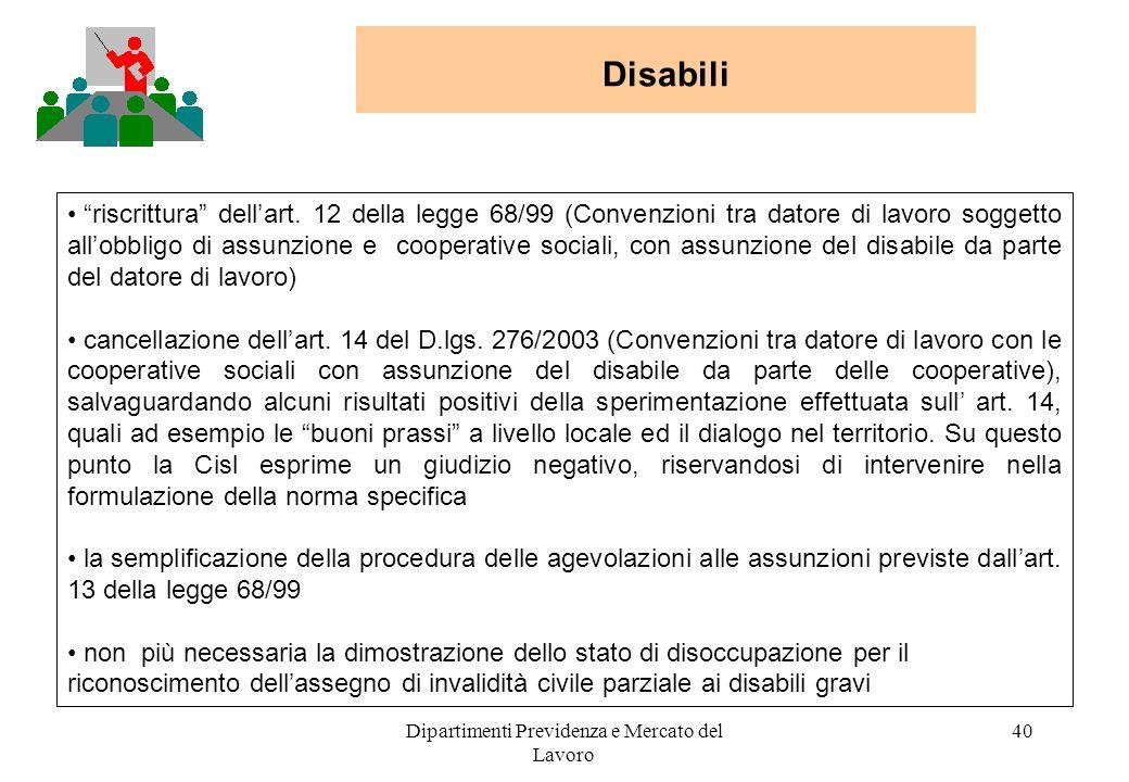 Dipartimenti Previdenza e Mercato del Lavoro 40 Disabili riscrittura dellart. 12 della legge 68/99 (Convenzioni tra datore di lavoro soggetto allobbli