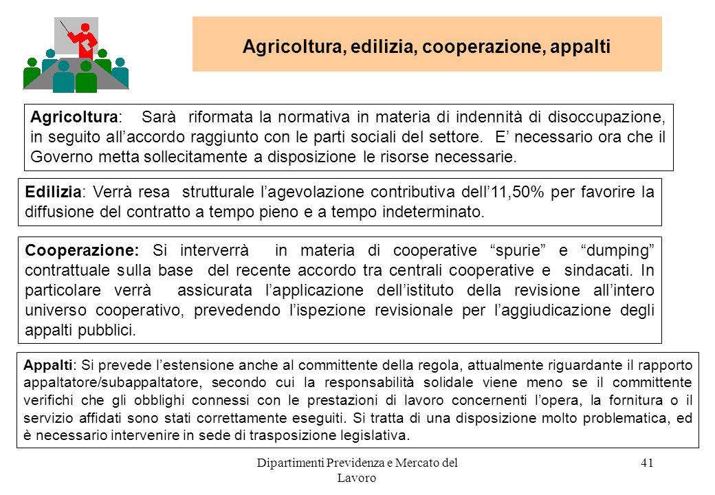 Dipartimenti Previdenza e Mercato del Lavoro 41 Agricoltura, edilizia, cooperazione, appalti Agricoltura: Sarà riformata la normativa in materia di indennità di disoccupazione, in seguito allaccordo raggiunto con le parti sociali del settore.