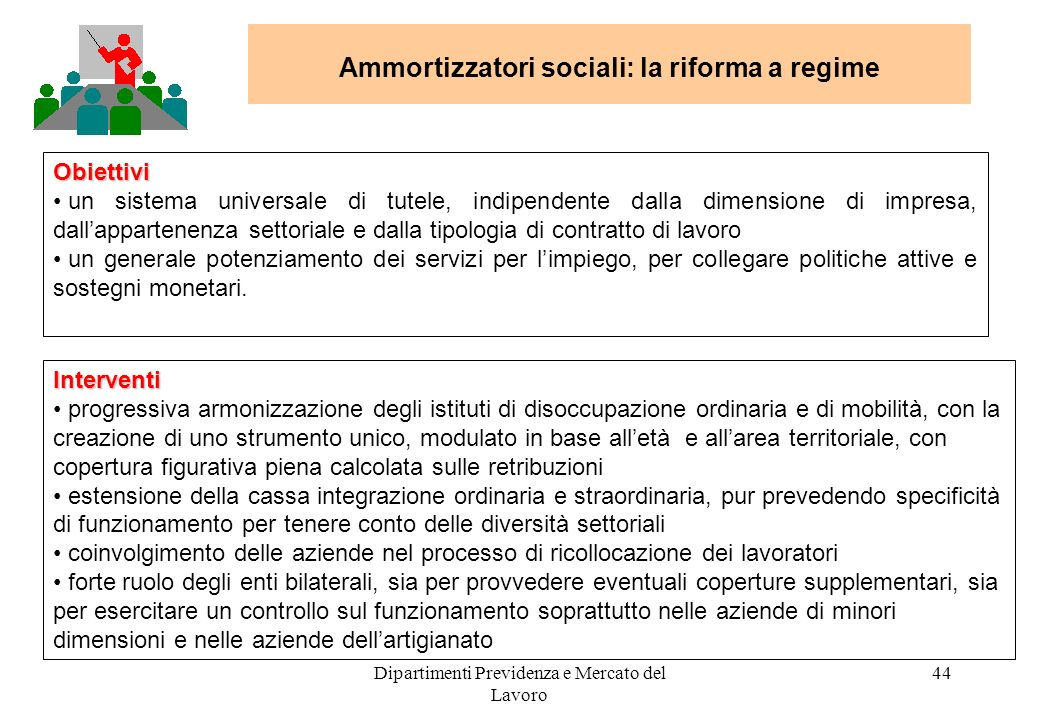 Dipartimenti Previdenza e Mercato del Lavoro 44 Ammortizzatori sociali: la riforma a regime Obiettivi un sistema universale di tutele, indipendente da