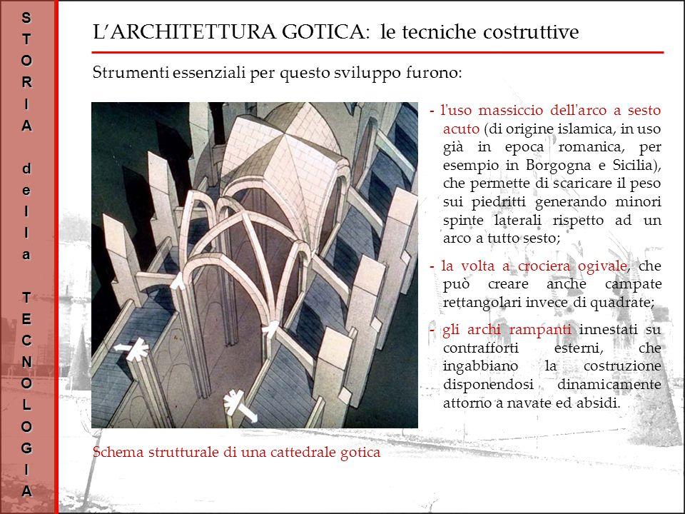 LARCHITETTURA GOTICA: le tecniche costruttive STORIAdellaTECNOLOGIA Schema strutturale di una cattedrale gotica Strumenti essenziali per questo sviluppo furono: - l uso massiccio dell arco a sesto acuto (di origine islamica, in uso già in epoca romanica, per esempio in Borgogna e Sicilia), che permette di scaricare il peso sui piedritti generando minori spinte laterali rispetto ad un arco a tutto sesto; - la volta a crociera ogivale, che può creare anche campate rettangolari invece di quadrate; - gli archi rampanti innestati su contrafforti esterni, che ingabbiano la costruzione disponendosi dinamicamente attorno a navate ed absidi.