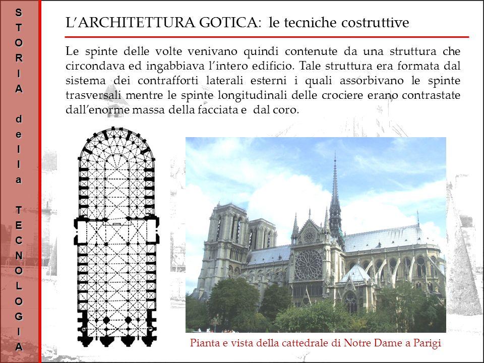 STORIAdellaTECNOLOGIA Pianta e vista della cattedrale di Notre Dame a Parigi Le spinte delle volte venivano quindi contenute da una struttura che circondava ed ingabbiava lintero edificio.