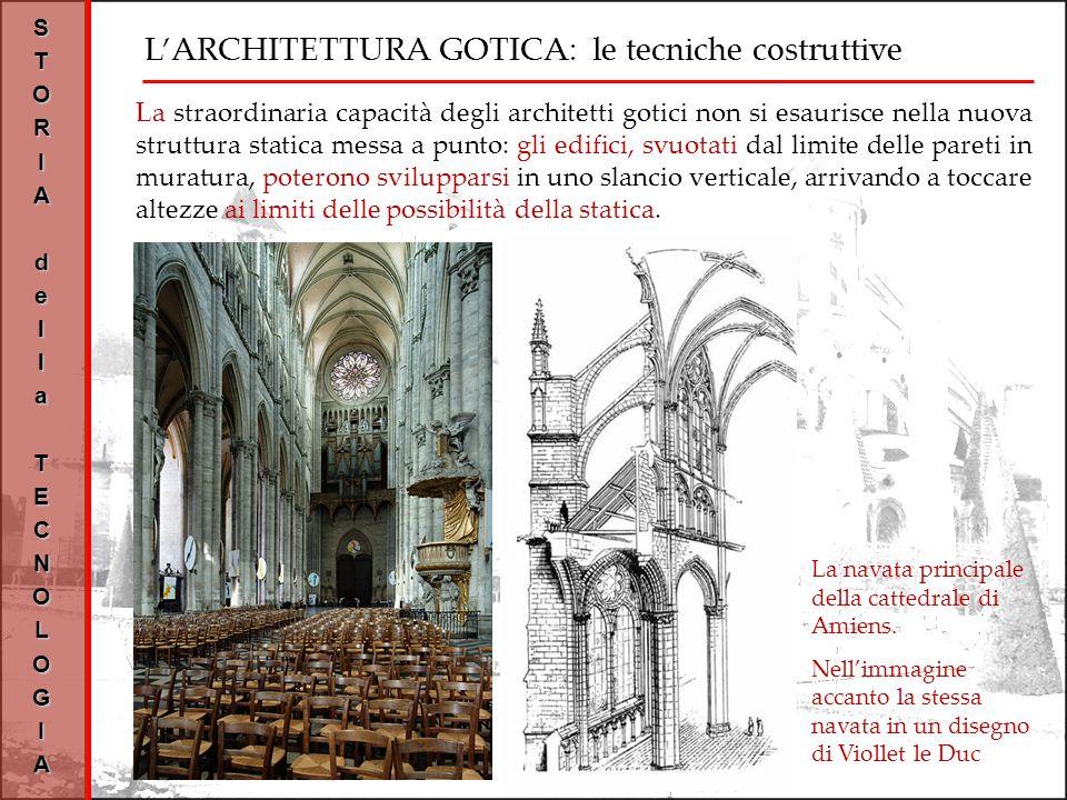 LARCHITETTURA GOTICA: le tecniche costruttive STORIAdellaTECNOLOGIA La navata principale della cattedrale di Amiens.