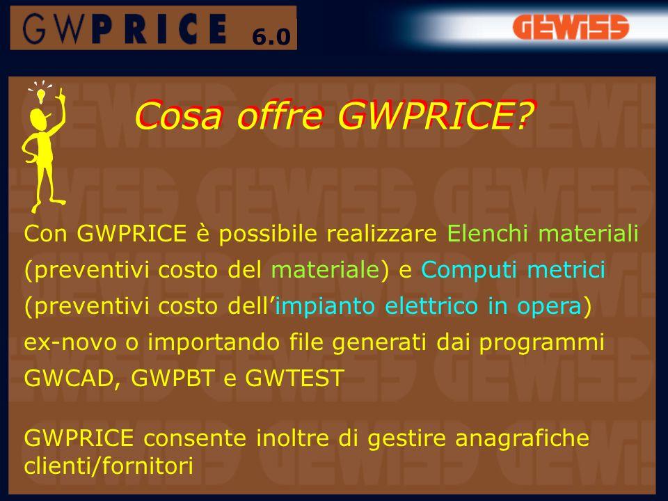 Cosa offre GWPRICE? Con GWPRICE è possibile realizzare Elenchi materiali (preventivi costo del materiale) e Computi metrici (preventivi costo dellimpi