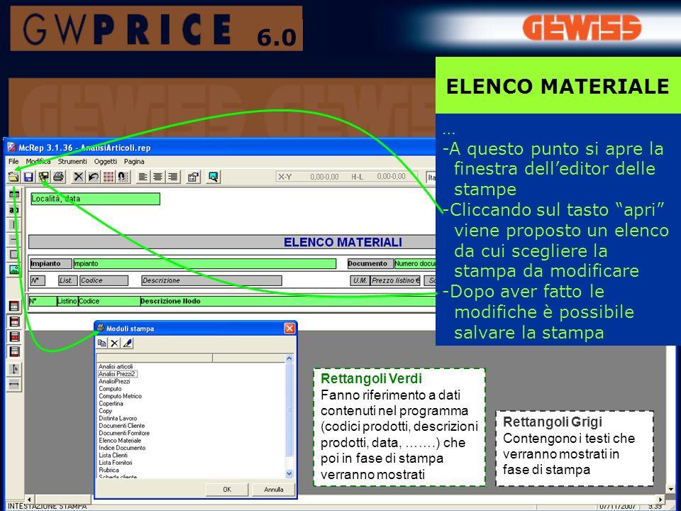ELENCO MATERIALE 6.0 … -A questo punto si apre la finestra delleditor delle stampe -Cliccando sul tasto apri viene proposto un elenco da cui scegliere