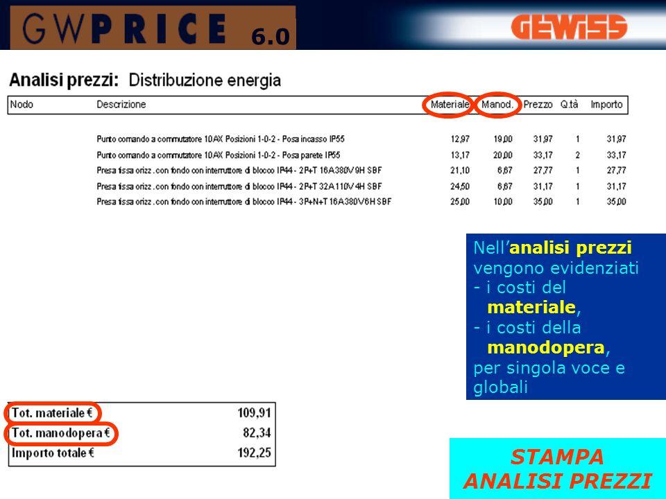 STAMPA ANALISI PREZZI Nellanalisi prezzi vengono evidenziati - i costi del materiale, - i costi della manodopera, per singola voce e globali 6.0
