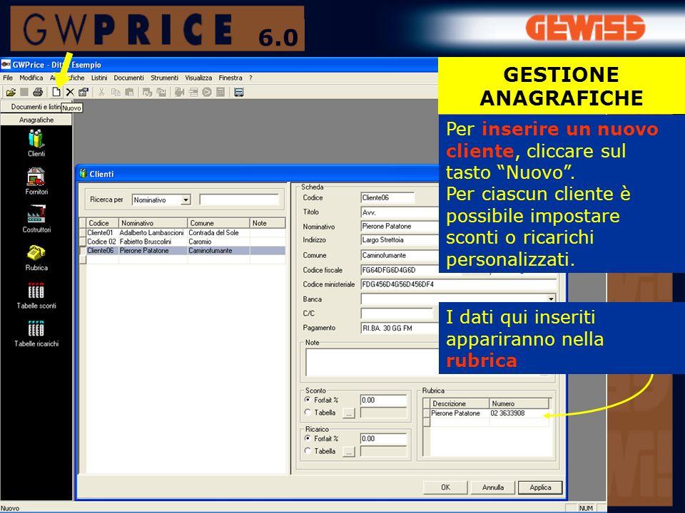 Nel modulo Testata possono essere inseriti i dati generali (i dati del committente dallanagrafica) COMPUTO METRICO FOGLIO VUOTO 6.0