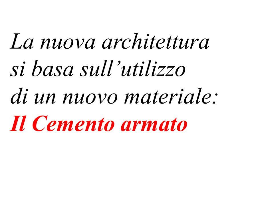 La nuova architettura si basa sullutilizzo di un nuovo materiale: Il Cemento armato