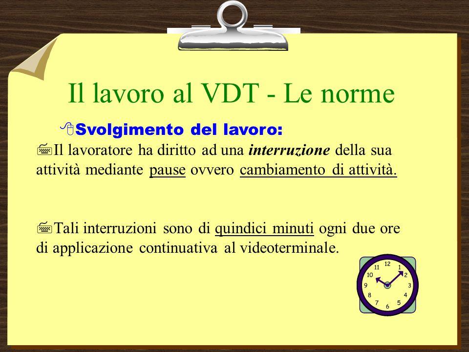 Il lavoro al VDT - Le norme Svolgimento del lavoro: 7Il lavoratore ha diritto ad una interruzione della sua attività mediante pause ovvero cambiamento di attività.
