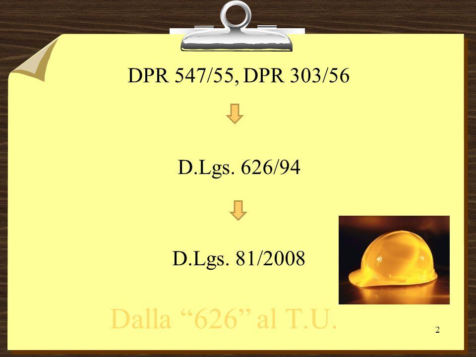 DPR 547/55, DPR 303/56 D.Lgs. 626/94 D.Lgs. 81/2008 Dalla 626 al T.U. 2