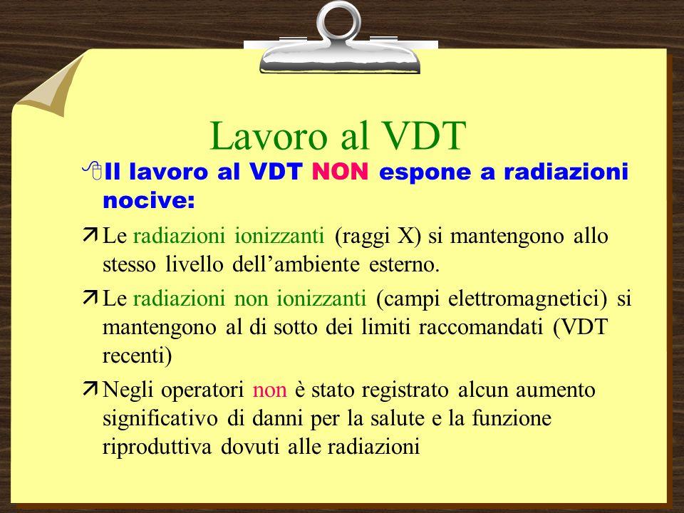 Lavoro al VDT 8Il lavoro al VDT NON espone a radiazioni nocive: äLe radiazioni ionizzanti (raggi X) si mantengono allo stesso livello dellambiente esterno.