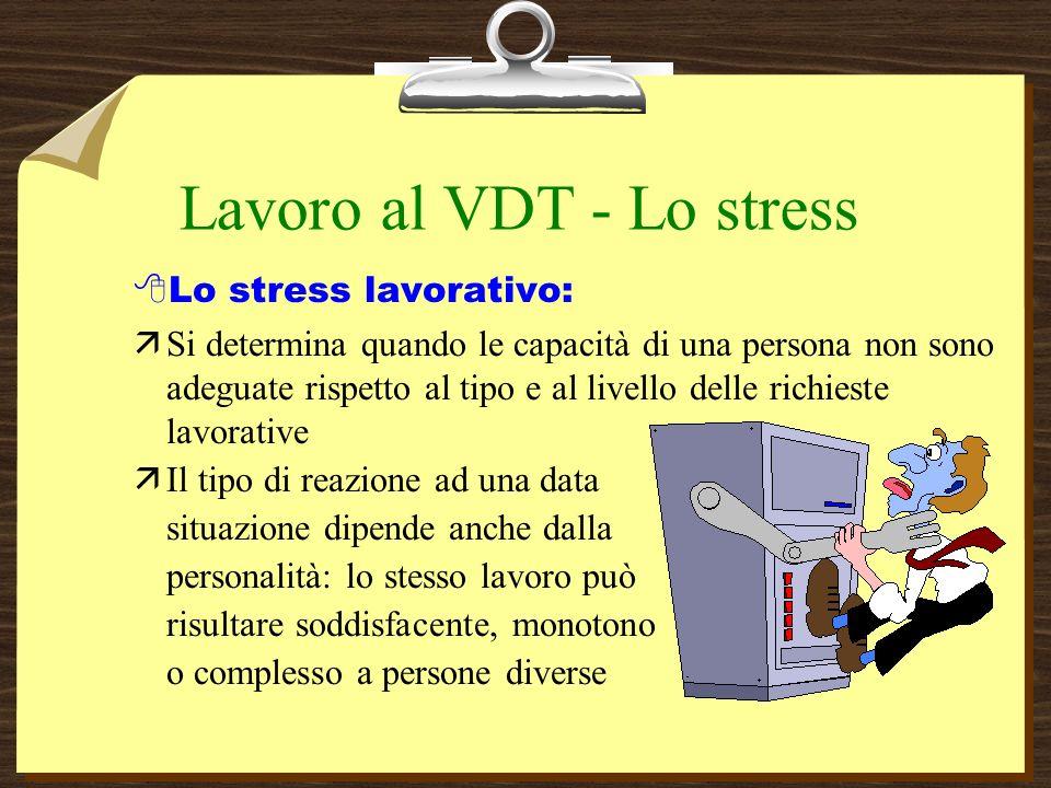 Lavoro al VDT - Lo stress 8Lo stress lavorativo: äSi determina quando le capacità di una persona non sono adeguate rispetto al tipo e al livello delle richieste lavorative äIl tipo di reazione ad una data situazione dipende anche dalla personalità: lo stesso lavoro può risultare soddisfacente, monotono o complesso a persone diverse