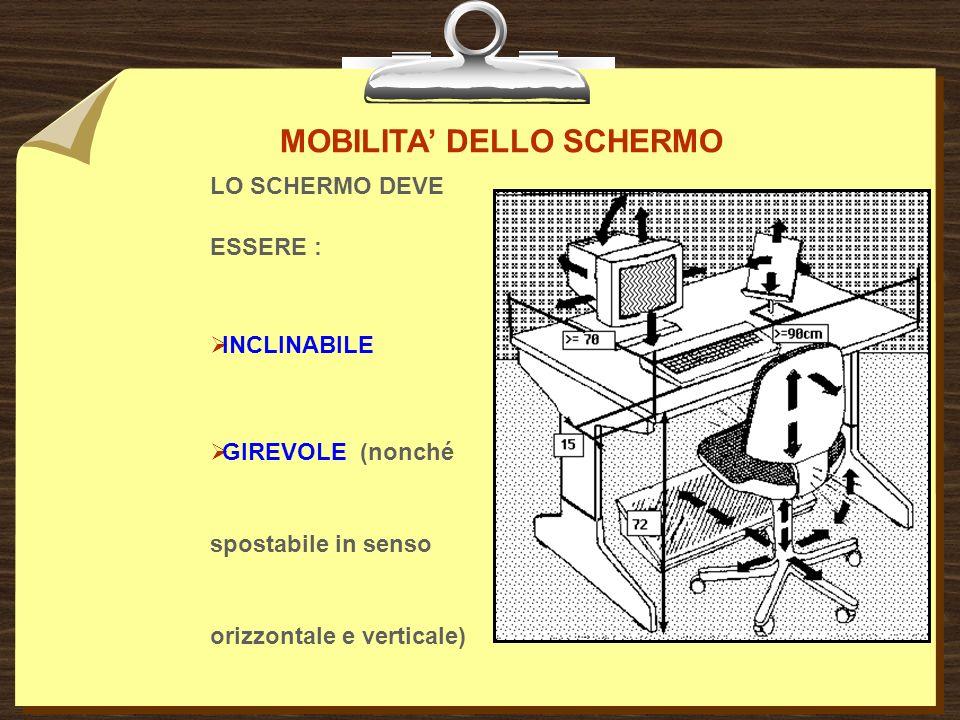 MOBILITA DELLO SCHERMO LO SCHERMO DEVE ESSERE : INCLINABILE GIREVOLE (nonché spostabile in senso orizzontale e verticale)