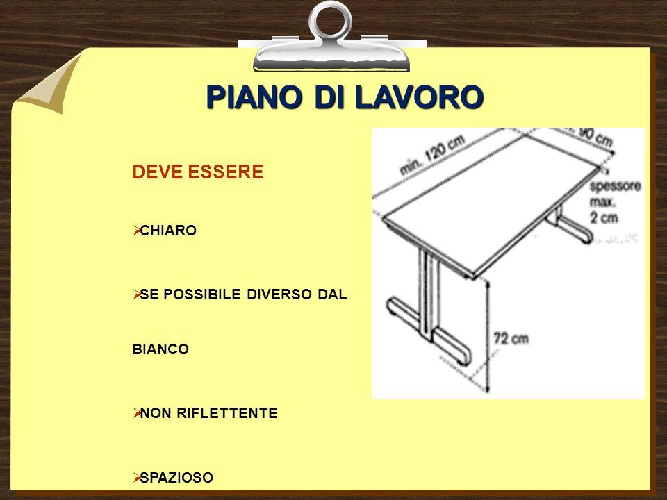 PIANO DI LAVORO DEVE ESSERE CHIARO SE POSSIBILE DIVERSO DAL BIANCO NON RIFLETTENTE SPAZIOSO