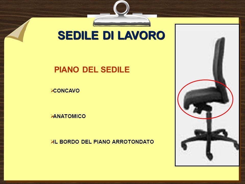 SEDILE DI LAVORO PIANO DEL SEDILE CONCAVO ANATOMICO IL BORDO DEL PIANO ARROTONDATO