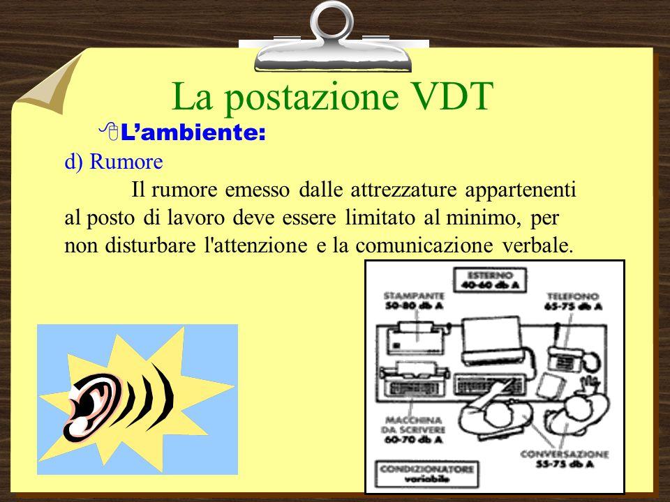 La postazione VDT Lambiente: d) Rumore Il rumore emesso dalle attrezzature appartenenti al posto di lavoro deve essere limitato al minimo, per non disturbare l attenzione e la comunicazione verbale.