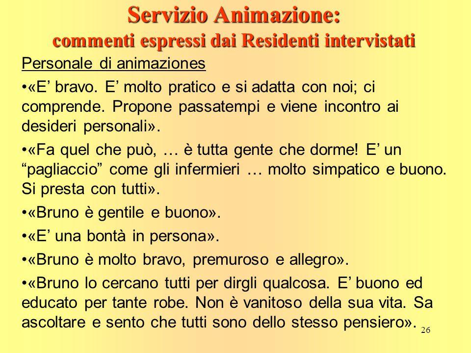26 Servizio Animazione: commenti espressi dai Residenti intervistati Personale di animaziones «E bravo.