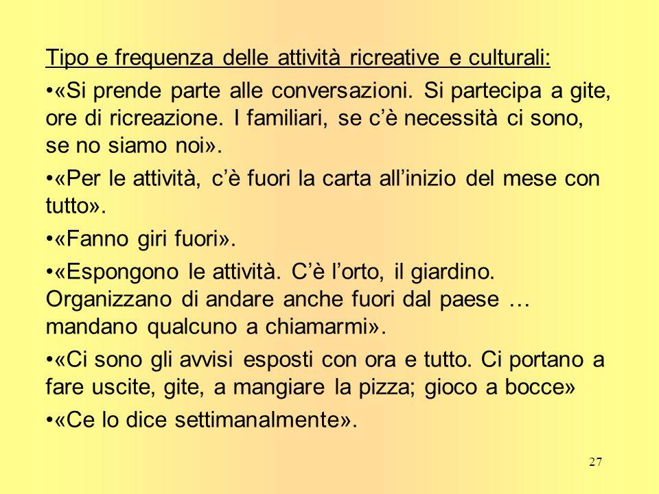 Tipo e frequenza delle attività ricreative e culturali: «Si prende parte alle conversazioni.
