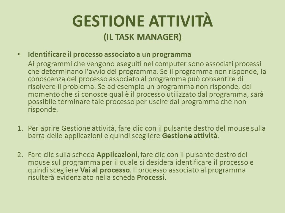 GESTIONE ATTIVITÀ (IL TASK MANAGER) Identificare il processo associato a un programma Ai programmi che vengono eseguiti nel computer sono associati processi che determinano l avvio del programma.