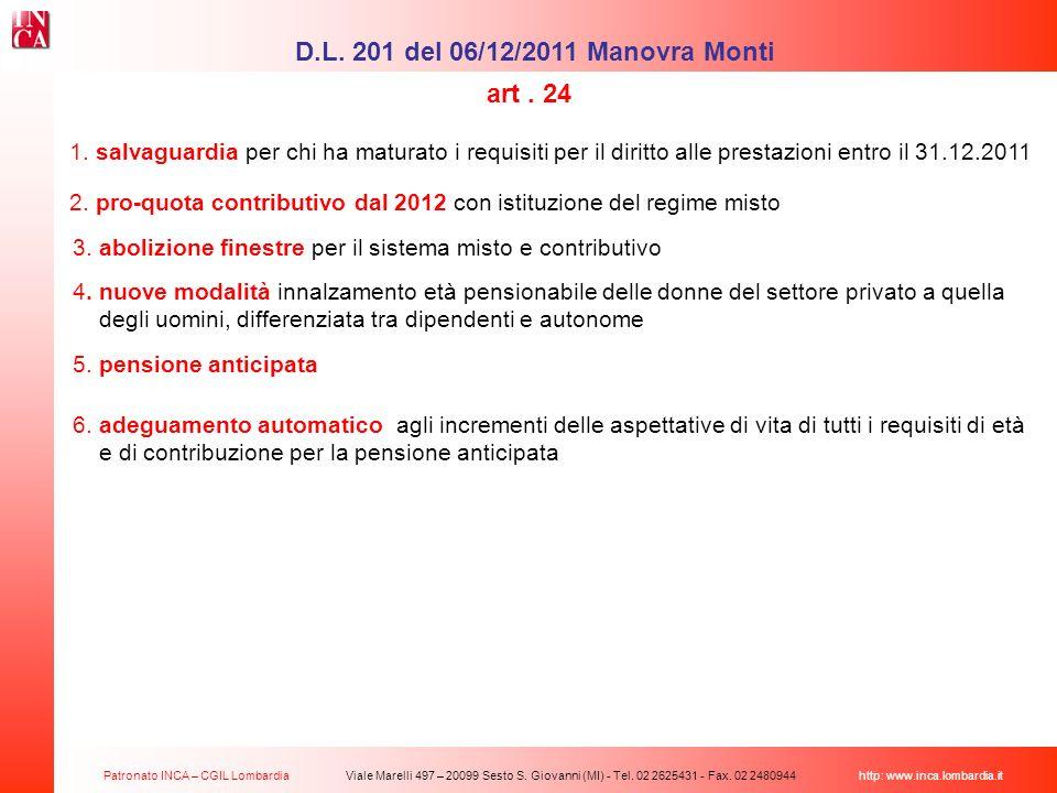 Patronato INCA – CGIL Lombardia Viale Marelli 497 – 20099 Sesto S. Giovanni (MI) - Tel. 02 2625431 - Fax. 02 2480944 http: www.inca.lombardia.it 1. sa