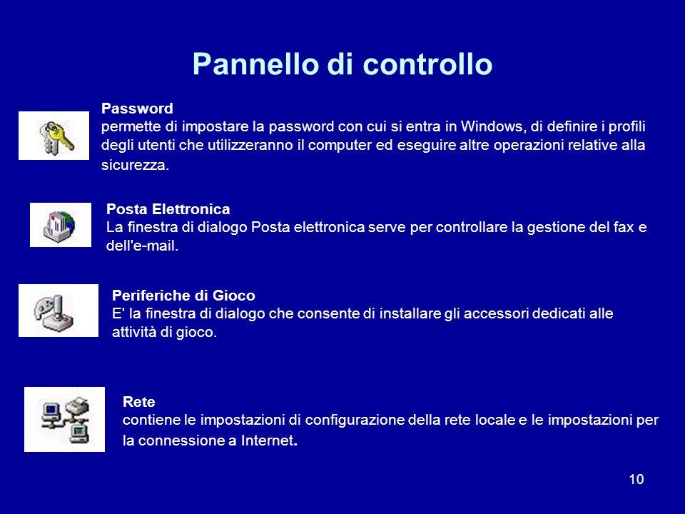 10 Pannello di controllo Password permette di impostare la password con cui si entra in Windows, di definire i profili degli utenti che utilizzeranno