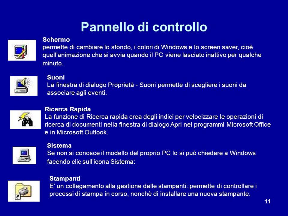 11 Pannello di controllo Schermo permette di cambiare lo sfondo, i colori di Windows e lo screen saver, cioè quell'animazione che si avvia quando il P