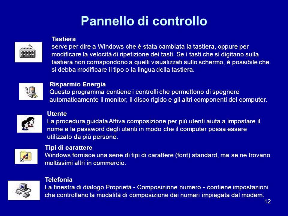 12 Pannello di controllo Tastiera serve per dire a Windows che è stata cambiata la tastiera, oppure per modificare la velocità di ripetizione dei tast