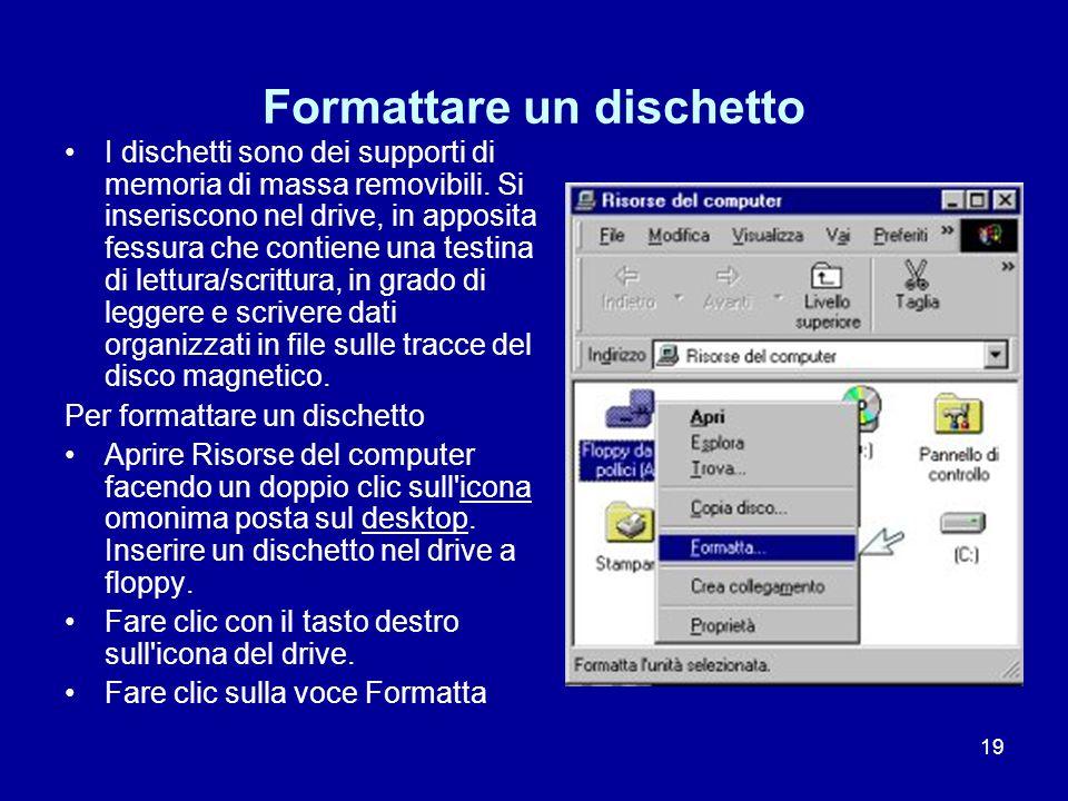 19 Formattare un dischetto I dischetti sono dei supporti di memoria di massa removibili. Si inseriscono nel drive, in apposita fessura che contiene un