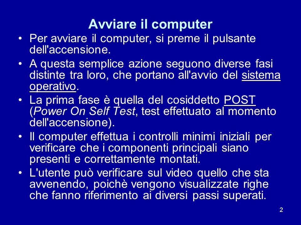 2 Avviare il computer Per avviare il computer, si preme il pulsante dell'accensione. A questa semplice azione seguono diverse fasi distinte tra loro,