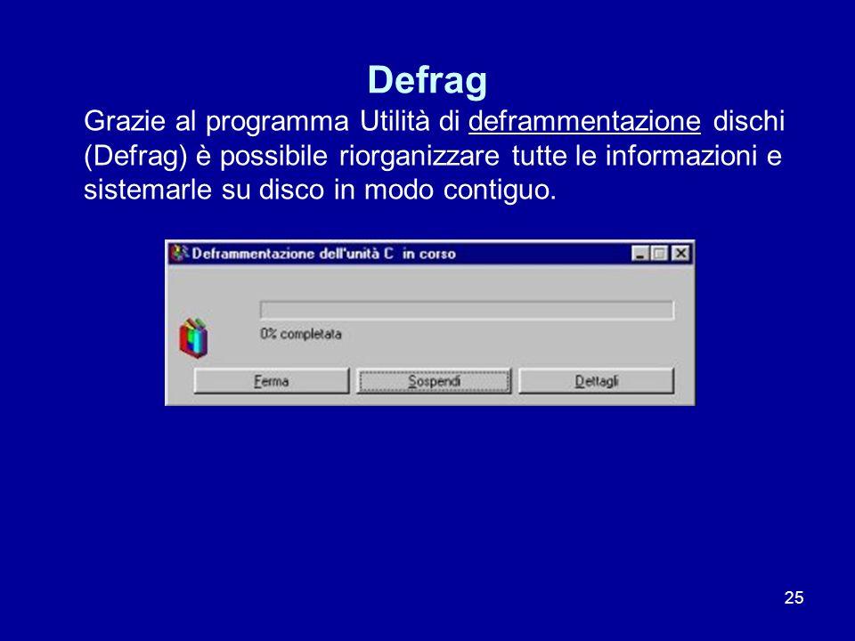 25 Defrag Grazie al programma Utilità di deframmentazione dischi (Defrag) è possibile riorganizzare tutte le informazioni e sistemarle su disco in mod