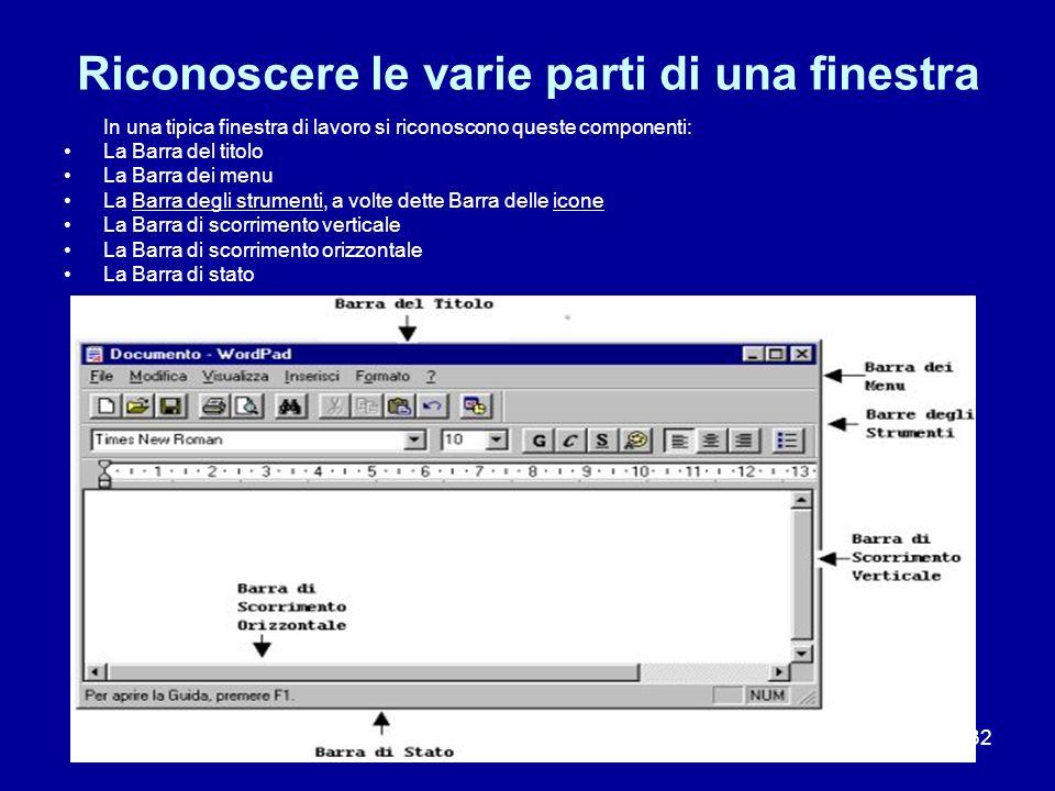 32 Riconoscere le varie parti di una finestra In una tipica finestra di lavoro si riconoscono queste componenti: La Barra del titolo La Barra dei menu