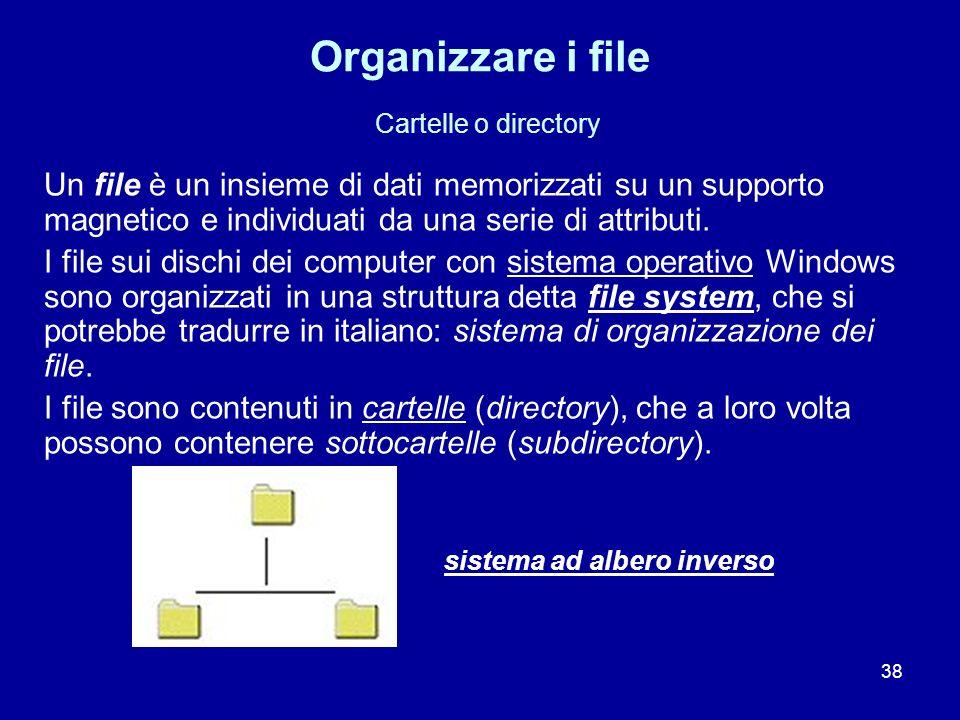 38 Organizzare i file Cartelle o directory Un file è un insieme di dati memorizzati su un supporto magnetico e individuati da una serie di attributi.