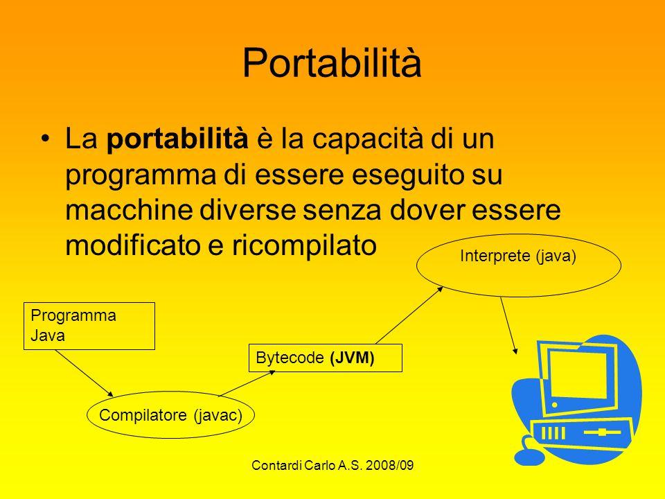 Contardi Carlo A.S. 2008/09 Portabilità La portabilità è la capacità di un programma di essere eseguito su macchine diverse senza dover essere modific