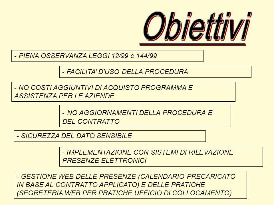 - PIENA OSSERVANZA LEGGI 12/99 e 144/99 - FACILITA DUSO DELLA PROCEDURA - NO COSTI AGGIUNTIVI DI ACQUISTO PROGRAMMA E ASSISTENZA PER LE AZIENDE - NO AGGIORNAMENTI DELLA PROCEDURA E DEL CONTRATTO - GESTIONE WEB DELLE PRESENZE (CALENDARIO PRECARICATO IN BASE AL CONTRATTO APPLICATO) E DELLE PRATICHE (SEGRETERIA WEB PER PRATICHE UFFICIO DI COLLOCAMENTO) - IMPLEMENTAZIONE CON SISTEMI DI RILEVAZIONE PRESENZE ELETTRONICI - SICUREZZA DEL DATO SENSIBILE