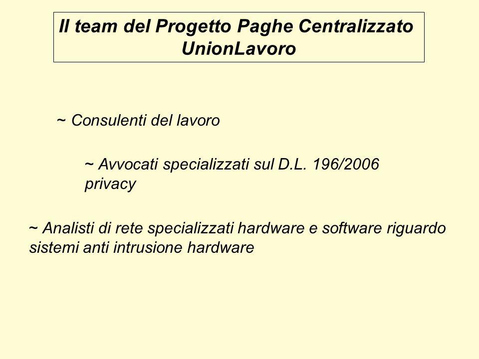Il team del Progetto Paghe Centralizzato UnionLavoro ~ Analisti di rete specializzati hardware e software riguardo sistemi anti intrusione hardware ~ Consulenti del lavoro ~ Avvocati specializzati sul D.L.