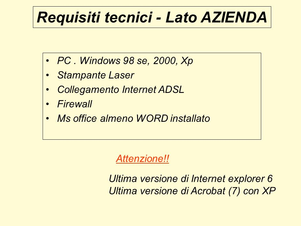 Requisiti tecnici - Lato AZIENDA PC. Windows 98 se, 2000, Xp Stampante Laser Collegamento Internet ADSL Firewall Ms office almeno WORD installato Ulti