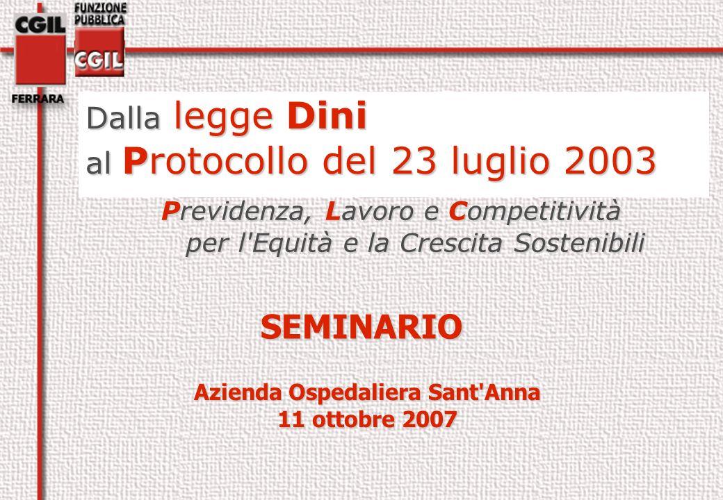SEMINARIO Dalla legge Dini al Protocollo del 23 luglio 2003 Azienda Ospedaliera Sant Anna 11 ottobre 2007 Previdenza, Lavoro e Competitività per l Equità e la Crescita Sostenibili