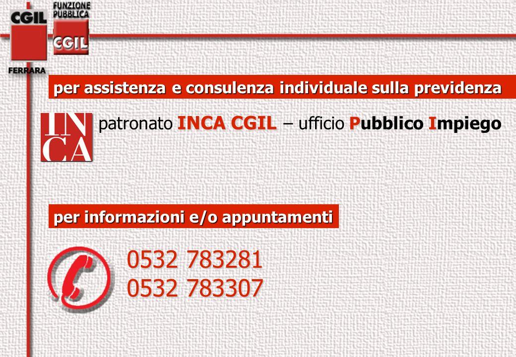per assistenza e consulenza individuale sulla previdenza INCA CGIL PI patronato INCA CGIL – ufficio Pubblico Impiego per informazioni e/o appuntamenti 0532 783281 0532 783307